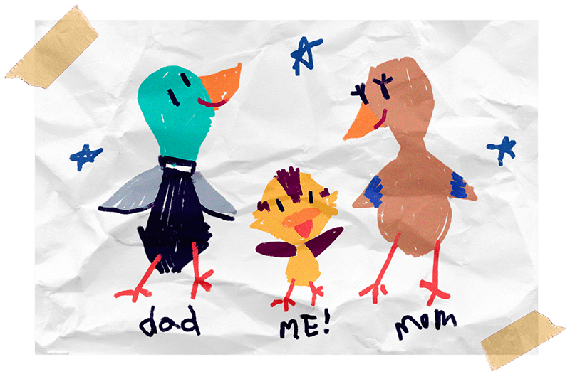 Dusty the duck with his family in a crayon drawing