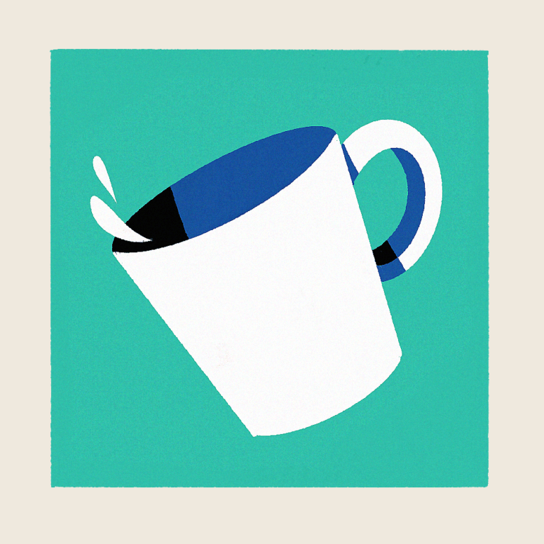 White cup with a teal background