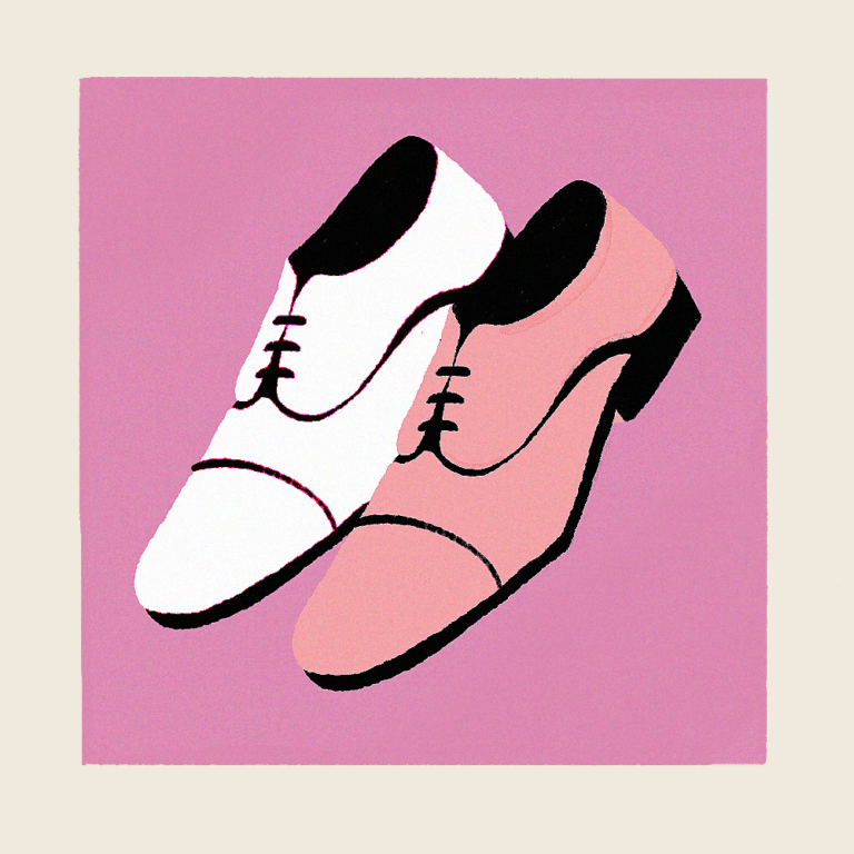 Grownup shoes with a pink background