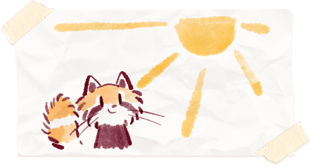 Water color painting of Ren the red panda in the sun