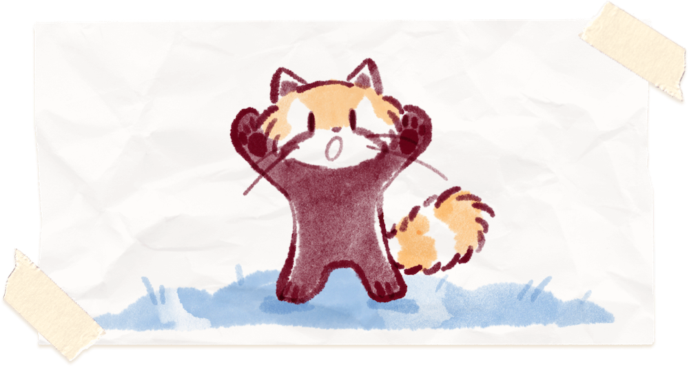 Water color painting of Ren the red panda posing