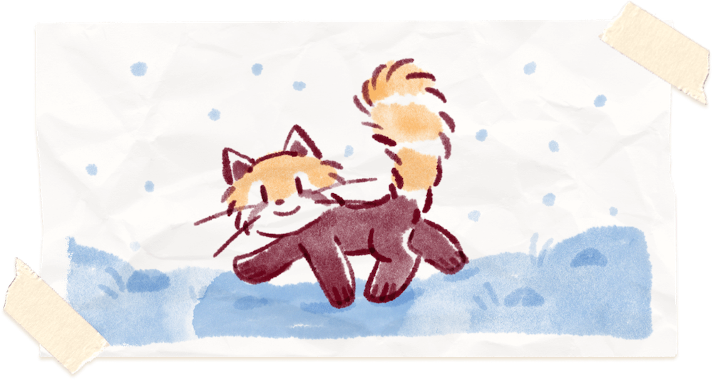 Water color painting of Ren the red panda walking