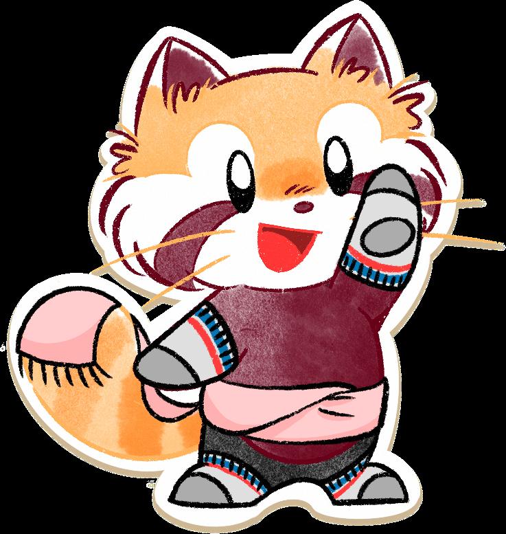 Ren the red panda pointing