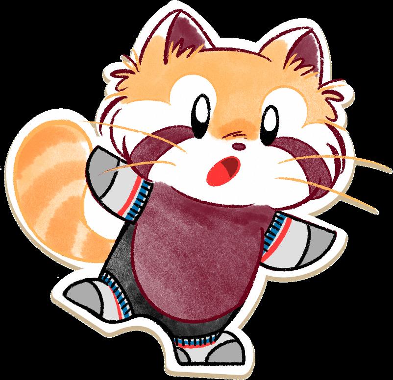 Ren the red panda balancing