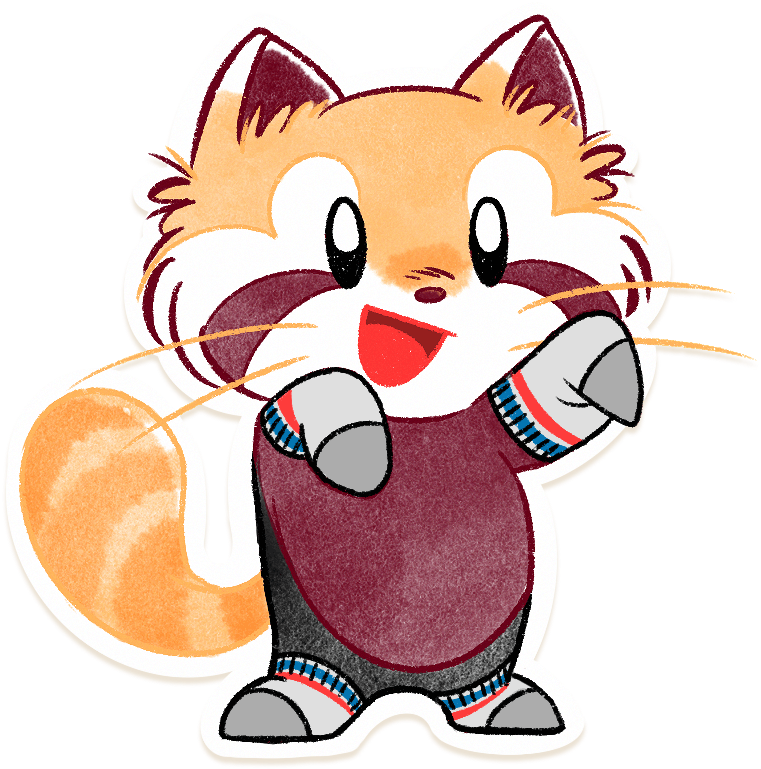 Ren the red panda with socks for paws