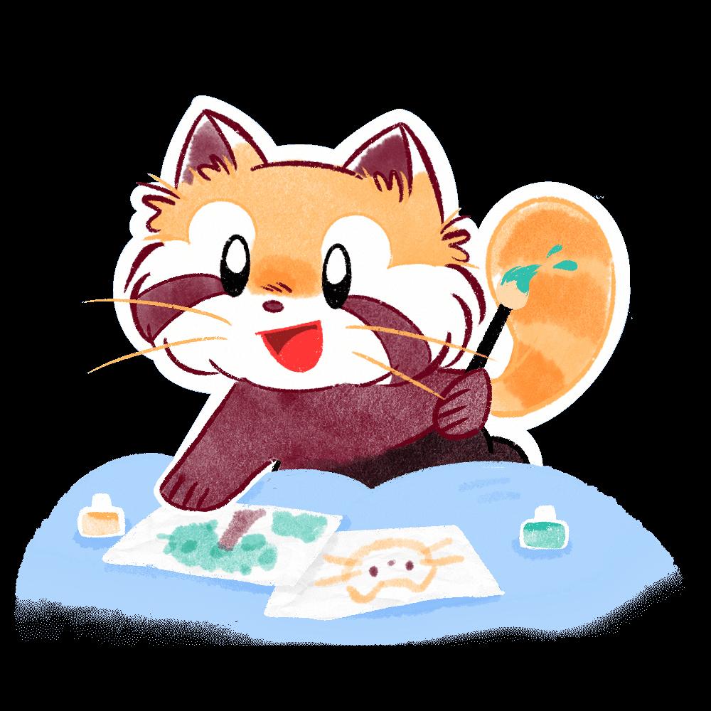 Ren the red panda water coloring